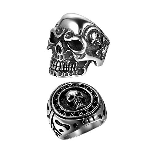 2Pcs Bikers Stainless Steel Gothic Skulls Ring,Black Silver, Size 12