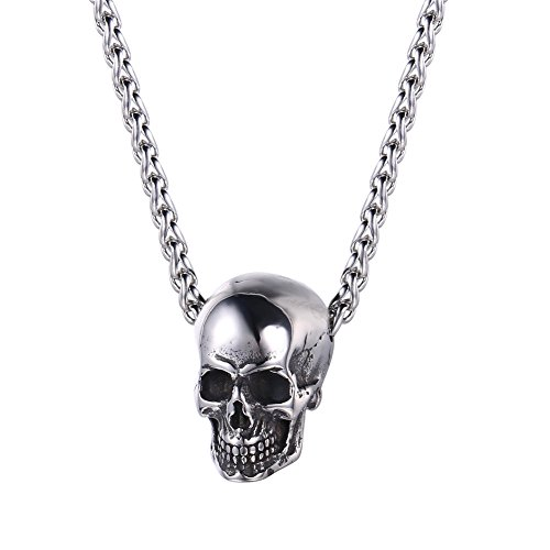 U7 Men Silver Black Gothic Skull Necklace Stainless Steel Chain Pendant, 22'
