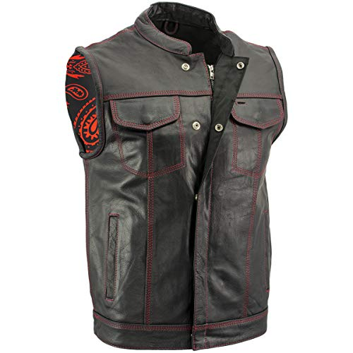 Xelement XS3449 Men's 'Paisley' Black Leather Motorcycle Vest with Red Stitching - Medium