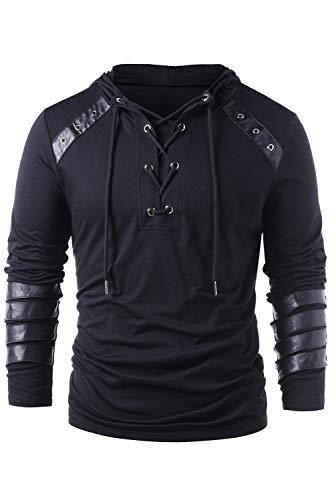Men's Gothic Steampunk Shirts Sweatshirt Lace Up Long Sleeve Pullover Hooded Tee Tops Black