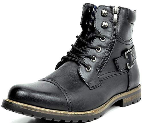 Bruno Marc Men's Philly-3 Black Military Combat Boots - 12 M US