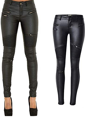 PU Leather Pants for Women Sexy Tight Stretchy Rider Leggings Black Faux Leather Pants for Women...
