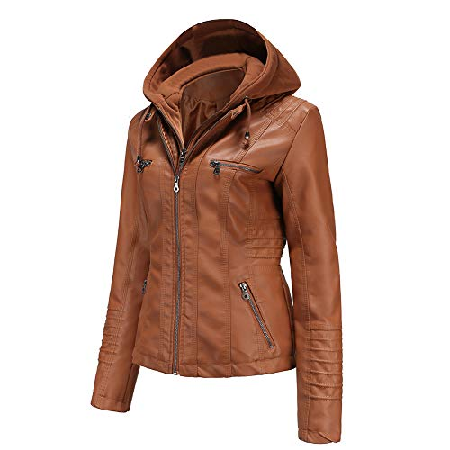 Tagoo Faux Leather Jacket Women Motorcycle Coat for Biker with Removable Hood Plus Size Fall Clothes...
