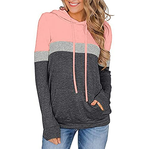 Women's Colorblock Hooded Sweatshirt Casual Long Sleeve Pullover Tops Casual Drawsting Blouse Pink