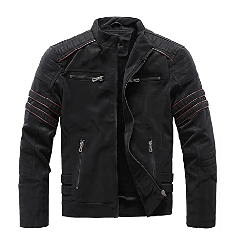 JJSPP Winter Fleece Leather Jacket Men Stand Collar Retro Leather Jackets Mens Coats Clothing (Color...