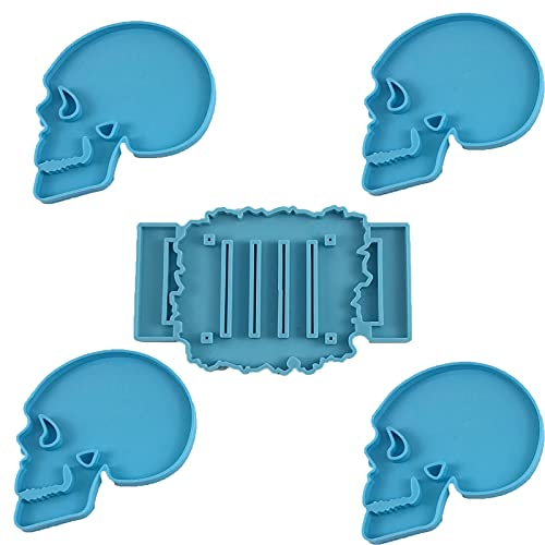 Skull Coaster Molds for Resin Casting with Holder, Silicone Epoxy Mould Kit Bundle for DIY Making...