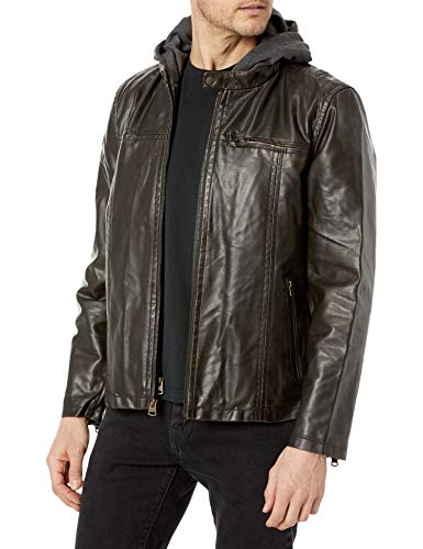 Levi's mens Faux Leather Hooded Racer Jacket (Regular and Big and Tall Sizes), Brown, Medium