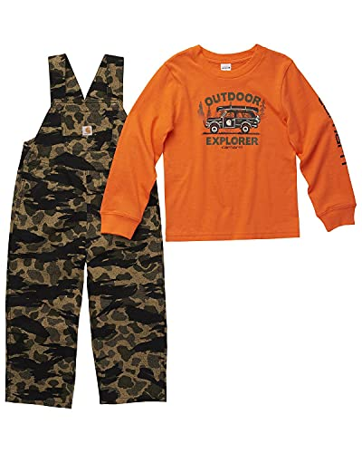 Carhartt Toddler-Boys' Camo T-Shirt and Overall Set Camouflage 4T