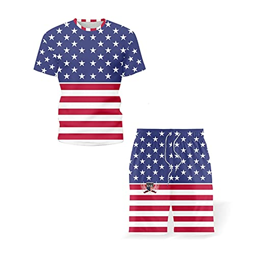 Trendy Men's Clothing US Flag Graphic Printing Summer T-Shirts Shorts Two Piece Set Tracksuit