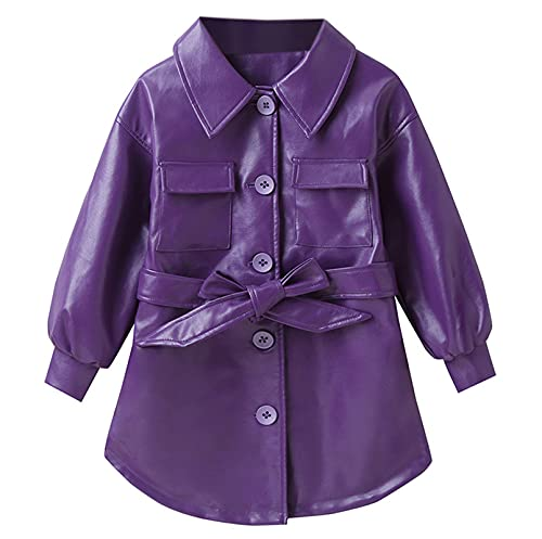 Girls' Faux Leather Jacket Coat, Fashion Solid Color Long PU Leather Jackets Fall Winter Outerwear,...