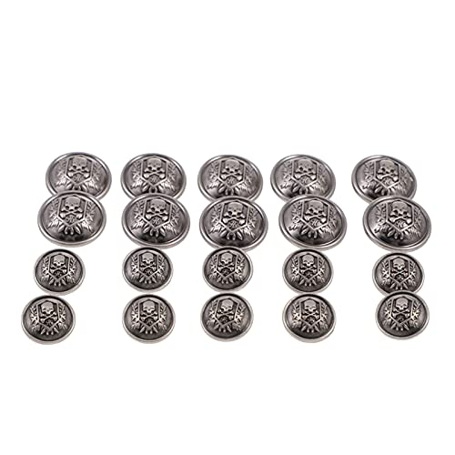 EXCEART 20pcs Skull Sewing Buttons Halloween Clothes Buttons Metal Buttons Jeans Punk Sewing DIY...
