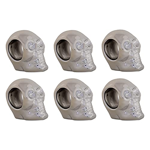 DII Silver Skull Ceramic Napkin Rings for Themed Parties, Decoration for Halloween, 3.25' 6 Pack