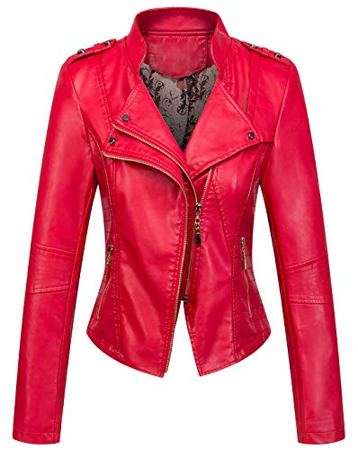 chouyatou Women's Candy Color Asymmetric Zip Slim Faux Leather Cropped Moto Jacket (Large, Red)