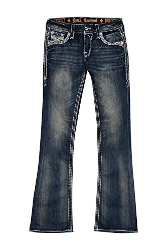 Rock Revival - Lang Distressed Womens Mid-Rise Boot Cut Jeans (30, Dark Blue)