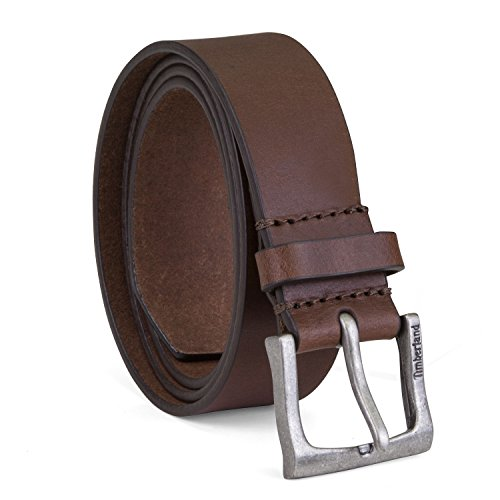 Timberland Men's Classic Leather Jean Belt 1.4 Inches Wide (Big & Tall Sizes Available), Brown, 36