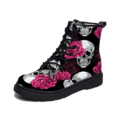 Winter Ankle Boots Skulls And Pink Roses Pattern Sneaker Shoes For Men