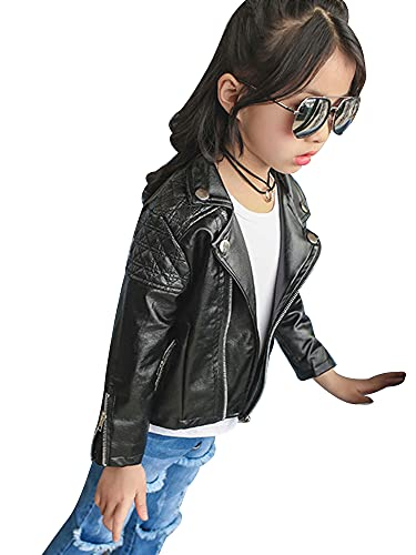 Thaisu Boy's Solid Color Leather Jacket, Long Sleeve Lapel Collar Side Zipper Closure Coat for Fall...