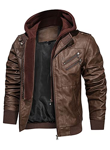 Hood Crew Men's Casual Stand Collar PU Faux Leather Zip-Up Motorcycle Bomber Jacket With a...