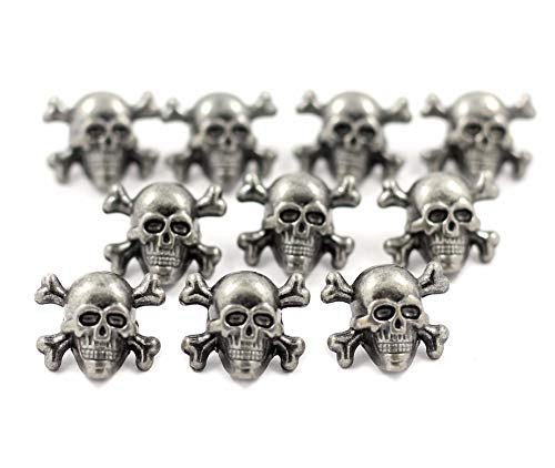 Bezelry 12 Pieces Skull with Cross Bones Gray Silver Color Metal Shank Buttons 14mm (9/16 inch)