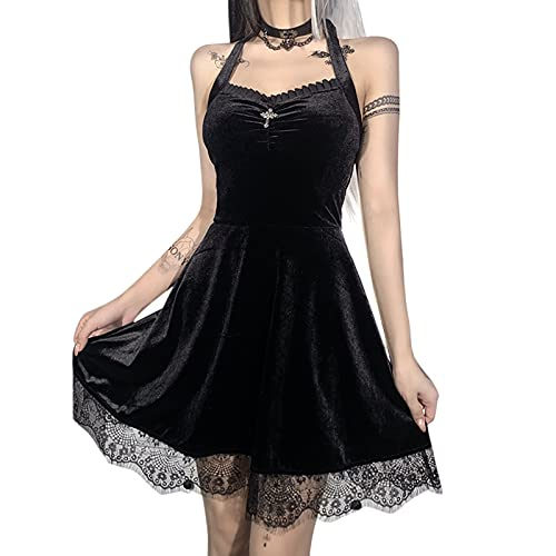 NBCX Womens Sexy Floral Lace Sheer Bodycon Mini Dress Gothic Lolita Vintage Dress Cocktail Sling...