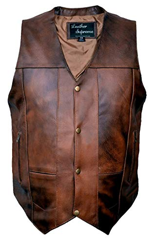 Leather Supreme Men's Ten Pocket Concealed Carry Retro Brown Buffalo Hide Leather Vest With...