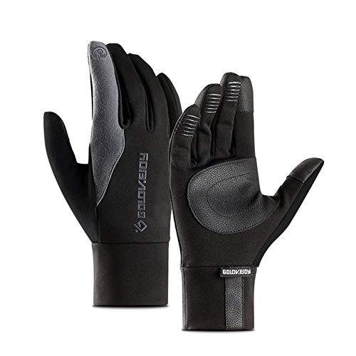Full Finger Motorcycle Gloves Windproof Warm Touch Screen Leather Ski Gloves (Grey, X-Large)