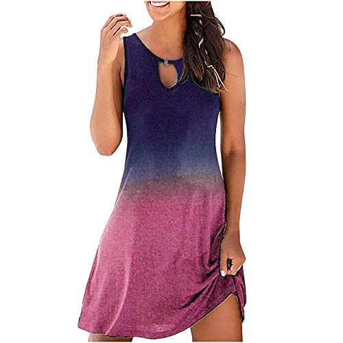 Summer Women Cold Shoulder Dress Casual Sexy Vintage Hollow O-Neck Sleeveless Gradient Printed Round...