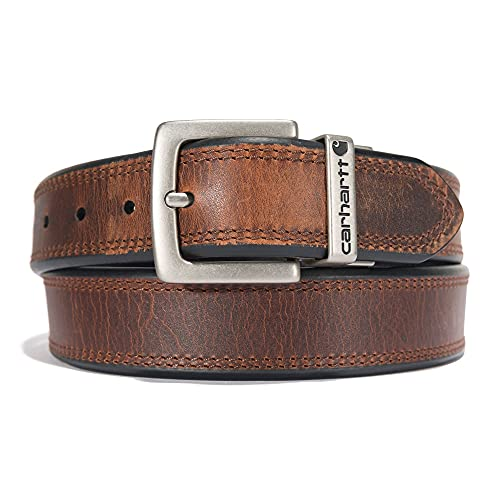 Carhartt Accessory Oil Finish Leather Reversible Belt, 44, Brown/Black with Nickel Roller Finish