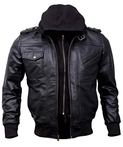 Mens Genuine Black Hooded Bomber Leather Jacket   Real Lambskin Waxed Brown Leather Jackets for Men...