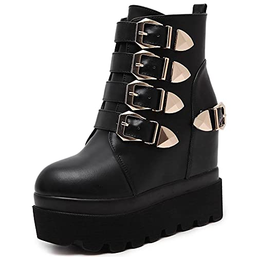 Mikarka Hidden Wedge Lace Up Platform Ankle Boots for Women, Fashion Studded Buckles with Chain Goth...