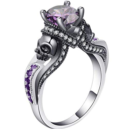 Silver Black Two Tone Gothic Skull Cocktail Party Biker Ring (Purple, 8)