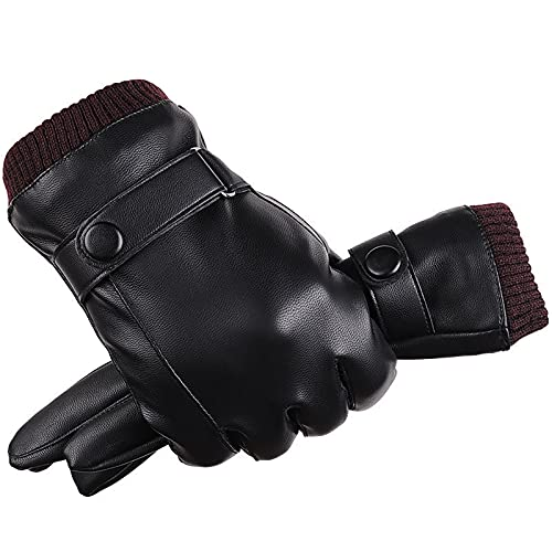 YouBoom Men's Leather Gloves Plus Velvet Thickening,Driving, Cycling, Anti-Skid and Windproof,Touch...