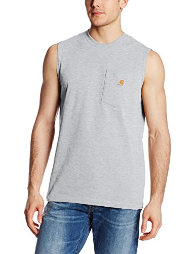 Carhartt Men's Workwear Pocket Sleeveless Midweight T-Shirt Relaxed Fit,Heather Gray,X-Large