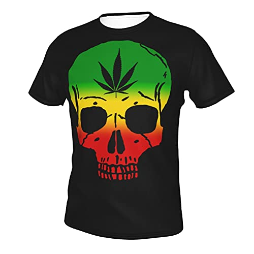 Youlimei Rastafarians Reggae Skull Weed T Shirt Tshirt for Men Summer Casual Clothes Dresses