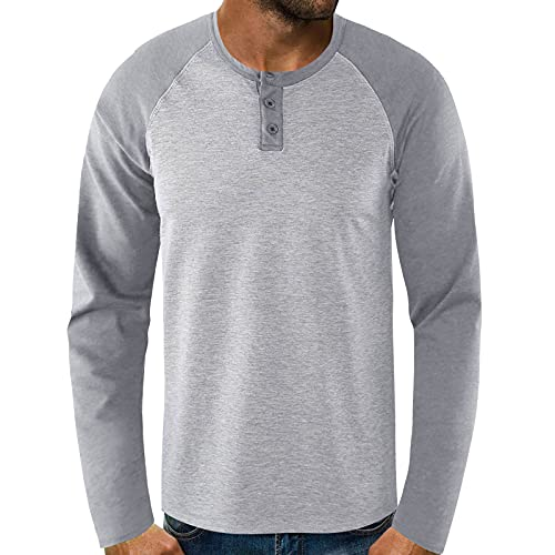 FUNEY Long Sleeve Shirts for Men Big & Tall Athletic Shirt Patchwork Cotton Lightweight Quick Dry...
