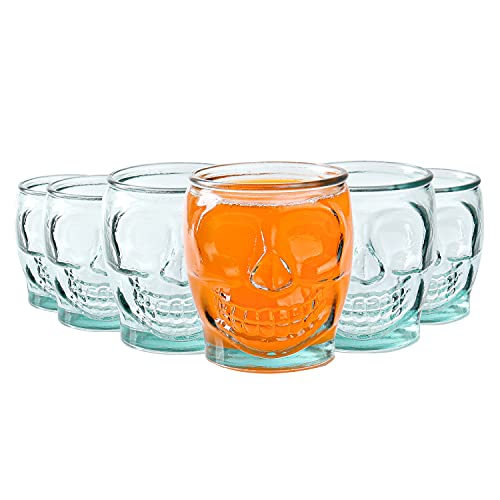 Sugar Skull Glass Tumbler - 15 oz, Set of 6 Day Of The Dead Drinking Cup