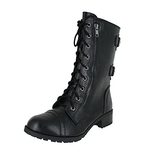 Soda Dome Mid Calf Height Women's Military / Combat Boots, Black, 7.5