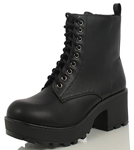 Soda Women's Magpie Faux Leather Lace-Up Combat Mid Heel Military Ankle Boots,Black,7.5