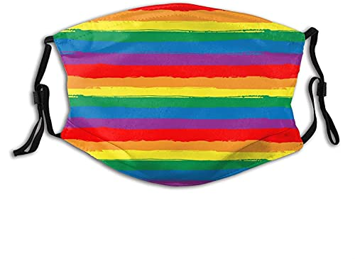 Rainbow Face Mask Scarf, Cloth Masks Balaclava Comfortable Breathable Reusable with 2pcs Filters for...