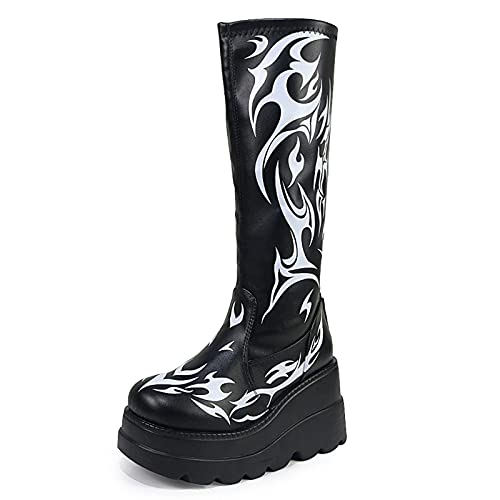 Erocalli Platform Boots Goth for Women Wedges Heels Mid Calf Boots Gothic Combat Motorcycle Boots
