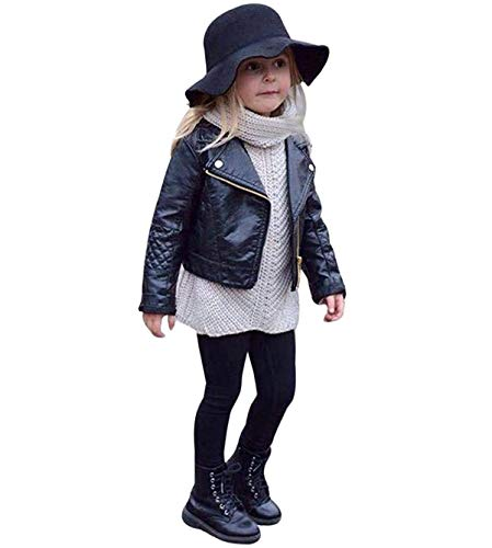 Clearance Sale Toddler Boys Girls Motorcycle Faux Leather Jackets Coat Winter Outwear for 1-5Y...