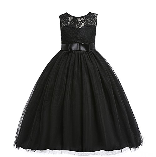 Glamulice Black Flower Girls Lace Bridesmaid Dress Long A Line Wedding Pageant Dresses Tulle Party...