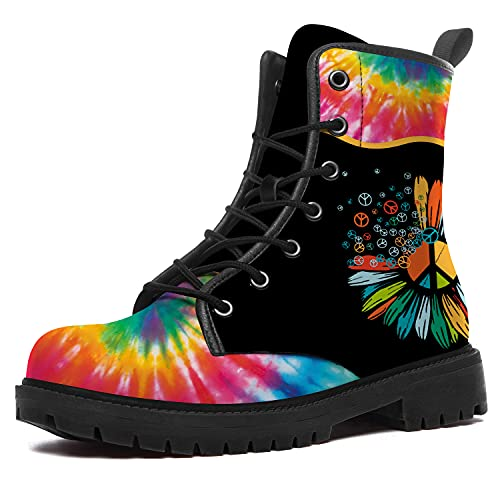Peace Boots for Women Men Waterproof High Top Boots Tie Dye Peace Sign Boots Durable Non-Slip Hiking...