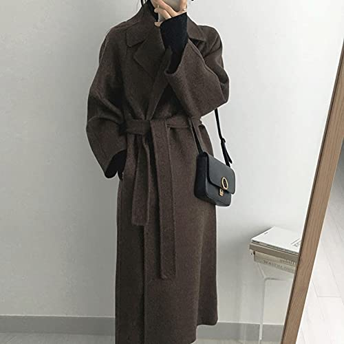 NJBYX Long Wool Coat With Belt Solid Color Long Sleeve Chic Outerwear Autumn Winter Elegant (Color :...