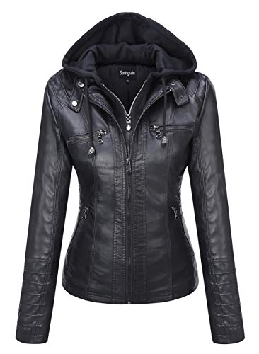 Springrain Women's Casual Stand Collar Detachable Hood PU Leather Jacket (Small, Black)