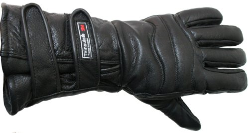 Perrini Motorcycle Gloves Close Out Winter Riding Leather Biker Leather Gloves New - 2XL Black
