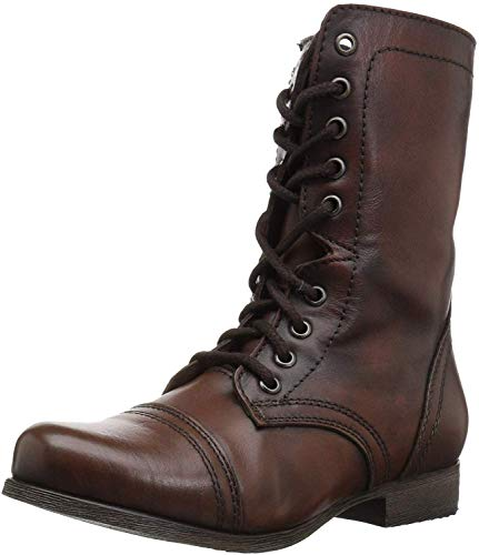 Steve Madden Women's Troopa Lace-Up Boot, Brown Leather, 8 M US