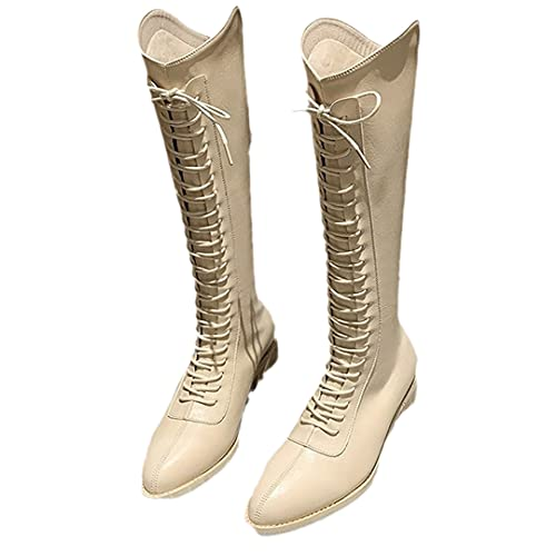 Pointed Toe Lace-Up Women's Knee High Riding Boots Retro V-Mouth High-Tube Low-Heel Boots White 38