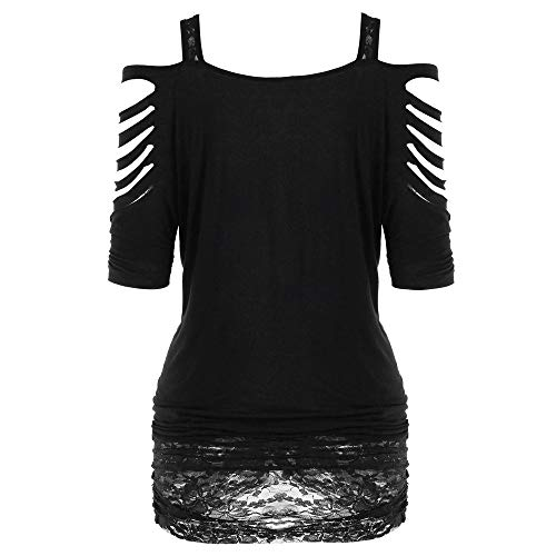 Womens Graphic Shirts Summer Blouse,Fashion Women Off Shoulder Rock Gothic Shirt Casual Ripped Sling...