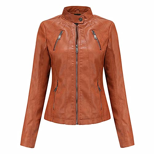 Ladies Leather Jacket - Outdoor Windproof Thin Section Long SleeveRetro motorcycle jacket , Bomber...